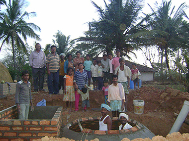 A biogas plant for rural areas in India